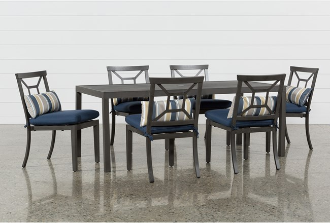 Martinique Outdoor Rectangle Dining Table With 6 Navy Chairs - 360