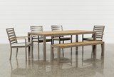 Outdoor Brasilia Teak Dining Table With 4 Chairs And 1 Bench - Signature