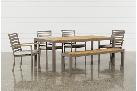 Outdoor Brasilia Teak Dining Table With 4 Chairs And 1 Bench - Main