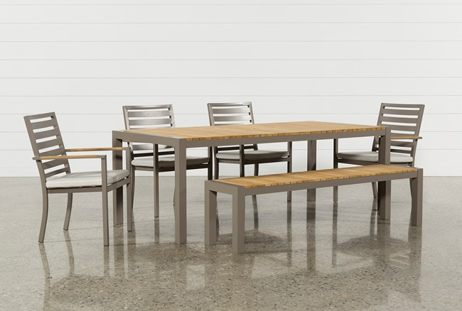 Outdoor Brasilia Teak Dining Table With 4 Chairs And 1 Bench - 360