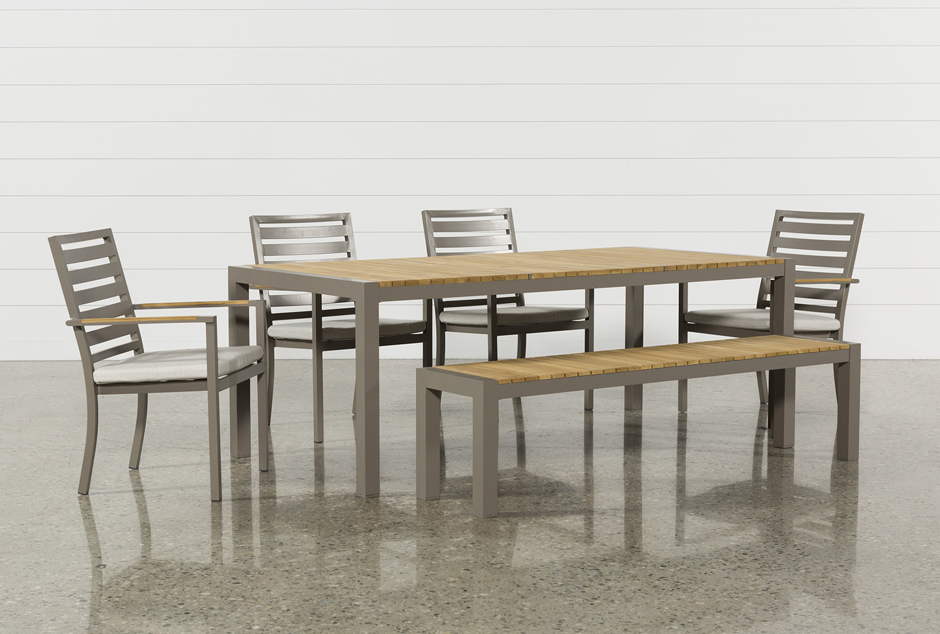 Outdoor Brasilia Teak Dining Table With 4 Chairs And 1 Bench