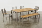 Outdoor Brasilia Teak Dining Table With 4 Chairs And 1 Bench - Top