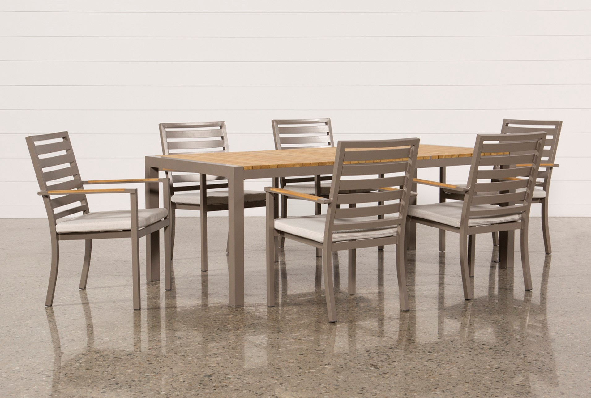 Outdoor Brasilia Teak Dining Table With 6 Chairs | Living Spaces