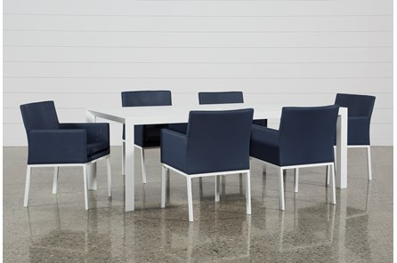 Outdoor Biscayne II Dining Table With 6 Upholstered Dining Chairs - Main