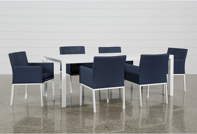 outdoor biscayne ii dining table with 6 upholstered dining chairs