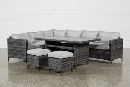 Miraculous Outdoor Domingo Banquette Lounge With 2 Ottomans Ncnpc Chair Design For Home Ncnpcorg