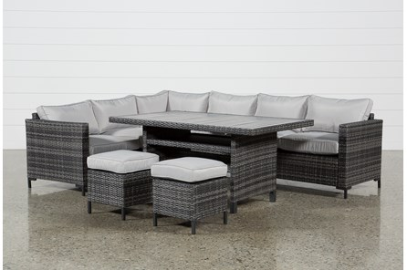 Outdoor Domingo Banquette Lounge With 2 Ottomans - Main