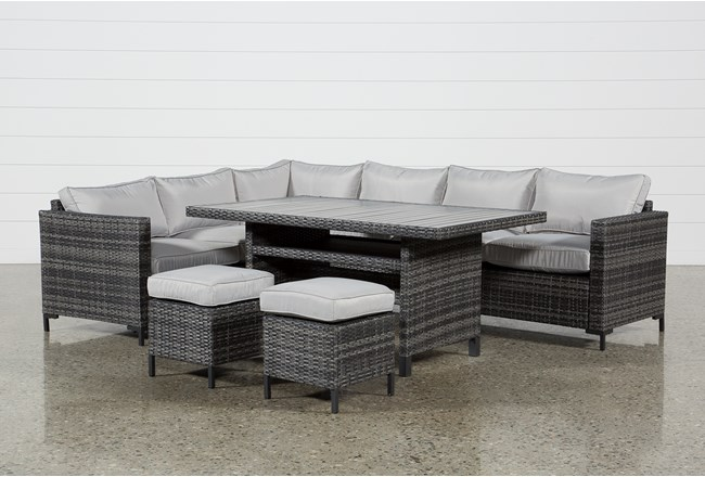 Outdoor Domingo Banquette Lounge With 2 Ottomans - 360
