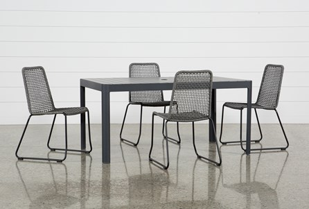Outdoor Andaz Dining Table With 4 Pilo Grey Side Chairs