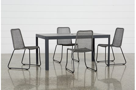 Outdoor Andaz Dining Table With 4 Pilo Grey Side Chairs - Main