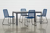 Outdoor Andaz Dining Table With 4 Pilo Blue Side Chairs - Signature