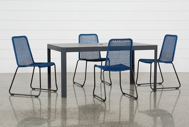 Outdoor Andaz Dining Table With 4 Pilo Blue Side Chairs - 360
