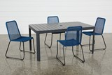 Outdoor Andaz Dining Table With 4 Pilo Blue Side Chairs - Top