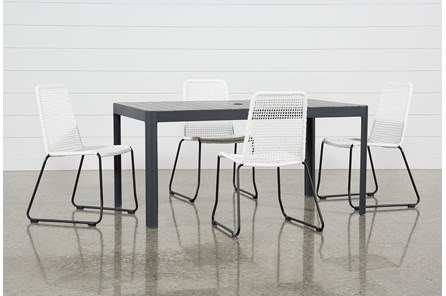 Outdoor Andaz Dining Table With 4 Pilo White Side Chairs - Main