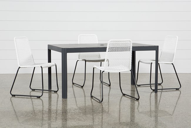 Outdoor Andaz Dining Table With 4 Pilo White Side Chairs - 360