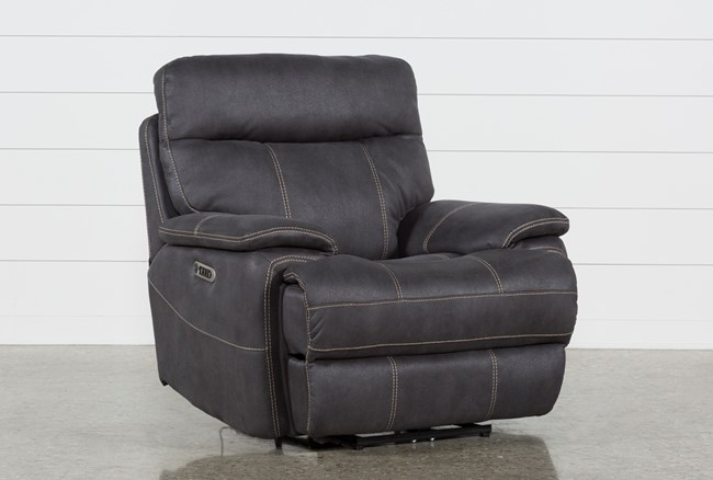 Denali Charcoal Grey Power Recliner W/Power Headrest & Usb - 360
