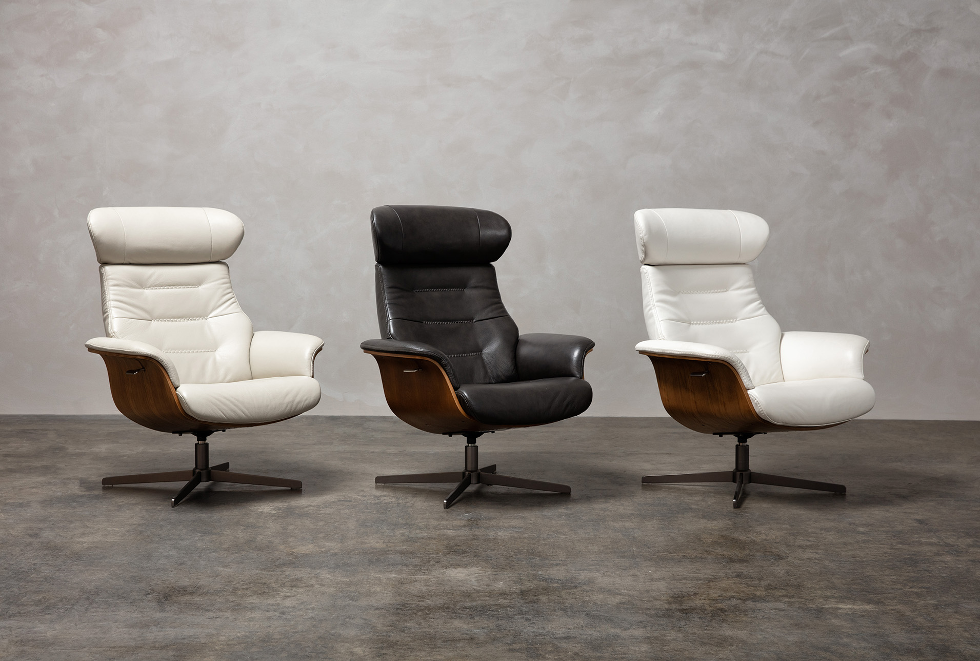 Amala Bone Leather Reclining Swivel Chair With Adjustable Headrest And Ottoman