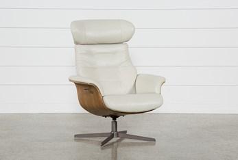 Amala Bone Leather Reclining Swivel Chair With Adjustable Headrest