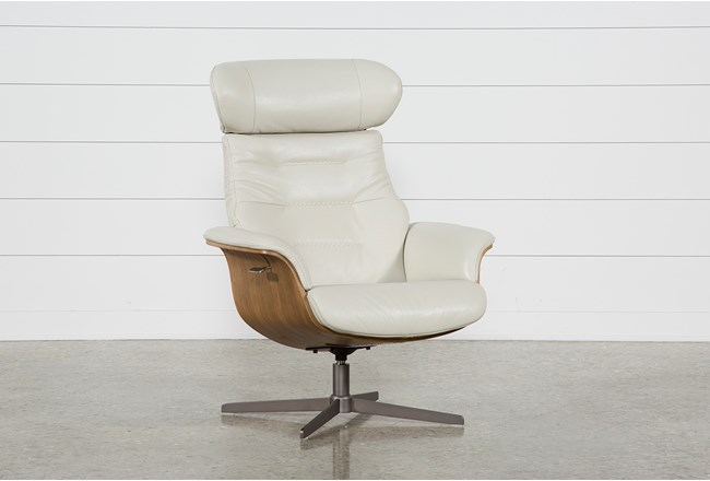 Amala Bone Leather Reclining Swivel Chair With Adjustable Headrest - 360