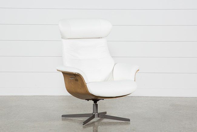 Amala White Leather Reclining Swivel Chair With Adjustable Headrest - 360