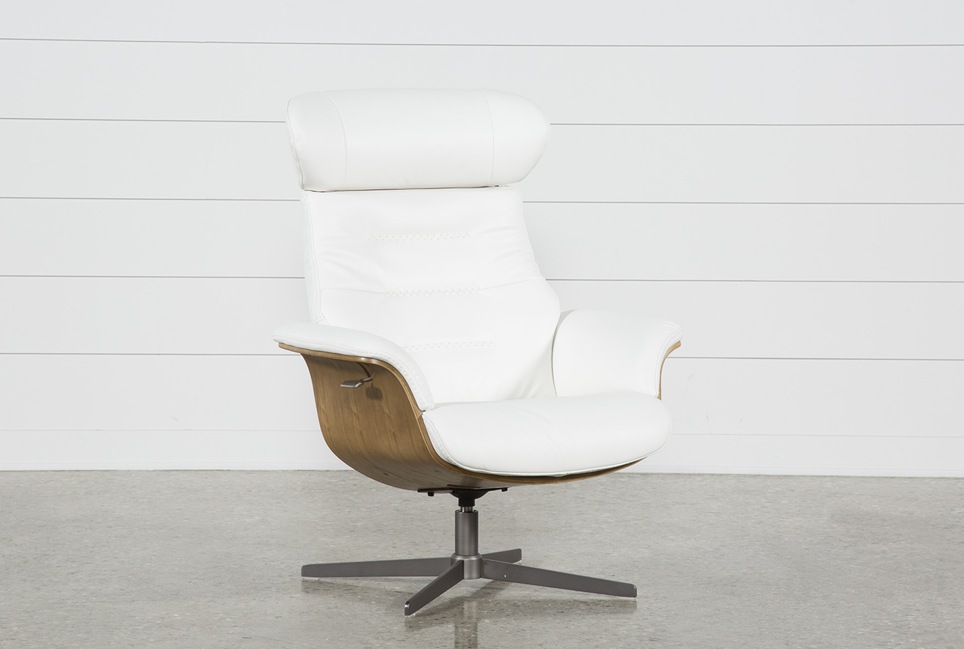 Amala White Leather Reclining Swivel Chair (Qty: 1) Has Been Successfully  Added To Your Cart.