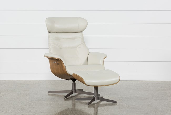 Amala Bone Leather Chair & Ottoman - 360