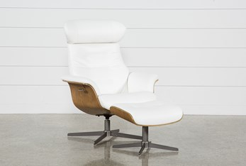 Amala White Leather Reclining Swivel Chair With Adjustable Headrest And Ottoman