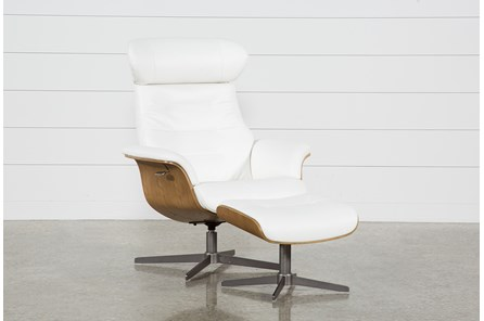 Amala White Leather Chair & Ottoman