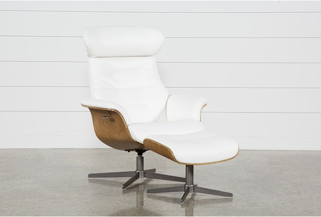 Amala White Leather Chair Amp Ottoman Living Spaces