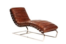 Cowhide Leather Chaise