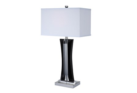 Table Lamp-Curved Crystal Black And Clear