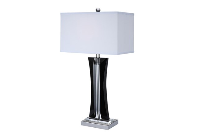 Table Lamp-Curved Crystal Black And Clear - 360