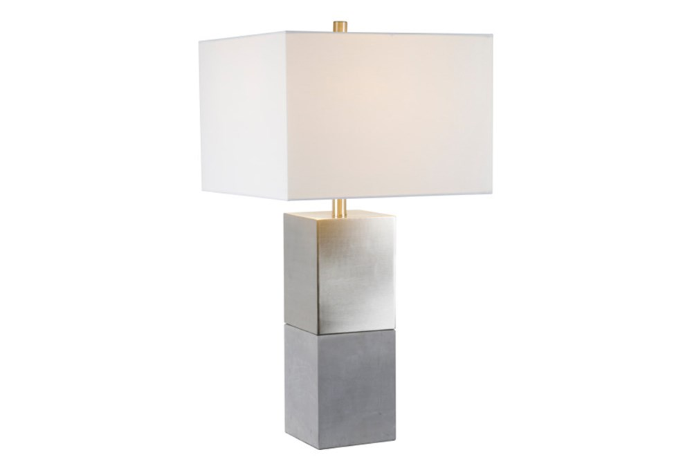 Table Lamp-Rectangular Silver Blocked