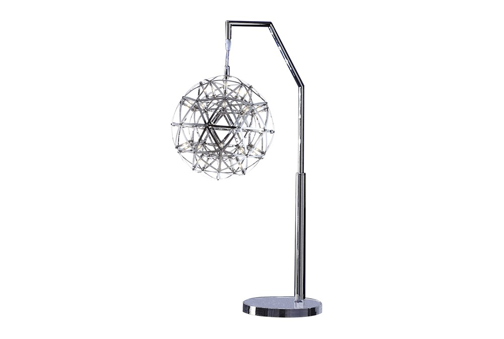 32 Inch Silver Contemporary Starburst Orb Led Table Lamp