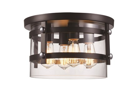 Flushmount-Round Black 4 Light