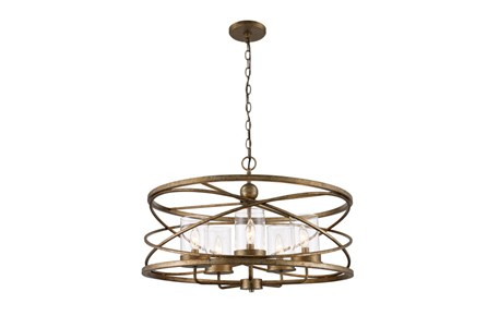 Pendant- Round Silver Leaf 5 Light