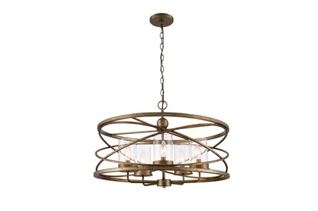 Pendant- Round Silver Leaf 5 Light - Main