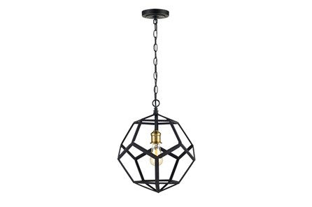 Pendant-Lenci Black And Brass