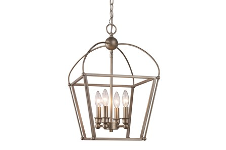 Pendant-Caged Silver 4 Light