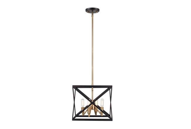 Pendant-Abner Black And Antique Brass - 360