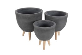 Round Cement Planters Set Of 3