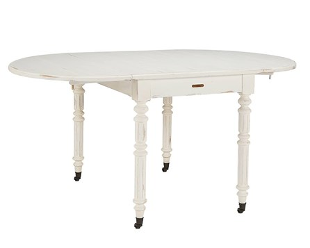 Magnolia Home Windsor Jo'S White Oval Dining Table With Dropleaf By Joanna Gaines