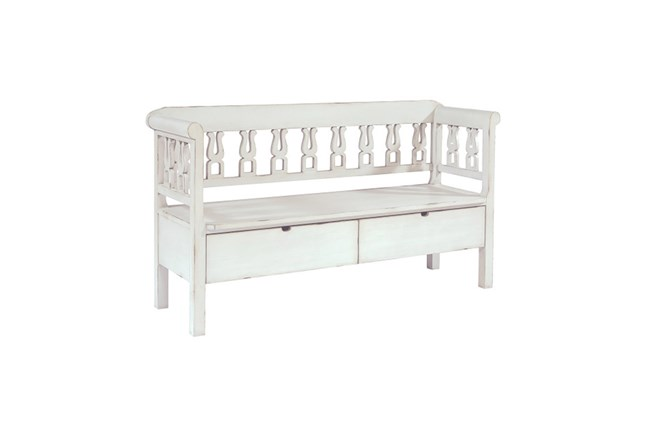 Magnolia Home White Hall Bench With Storage By Joanna Gaines - 360