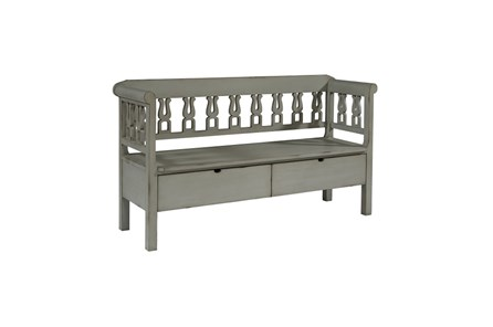 Magnolia Home Dove Grey Hall Bench With Storage By Joanna Gaines - Main