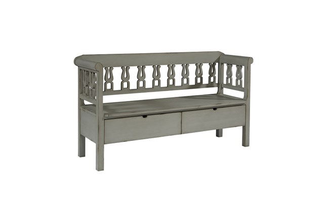 Magnolia Home Dove Grey Hall Bench With Storage By Joanna Gaines - 360