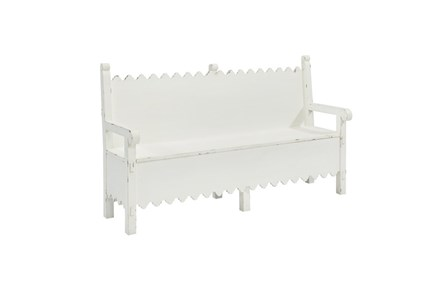 Magnolia Home Scallop White Storage Bench By Joanna Gaines