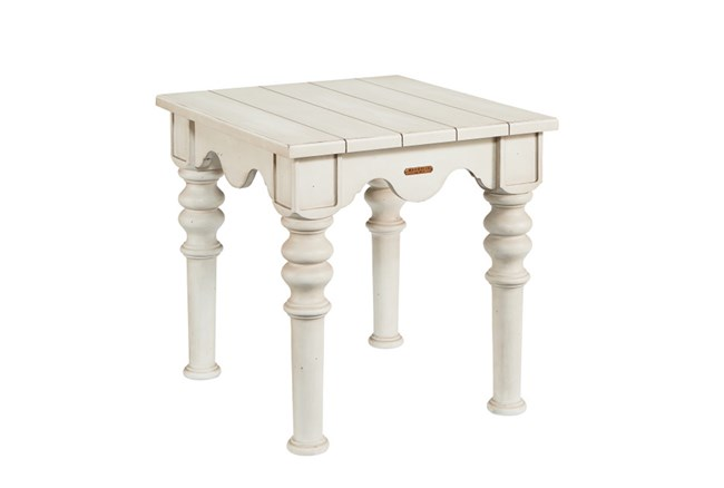 Magnolia Home Scallop Antique White End Table By Joanna Gaines - 360