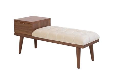 Ivory Velvet Bench With Wood Storage