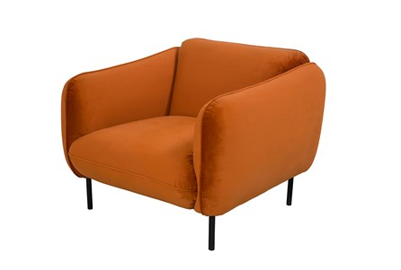 Velvet Burnt Orange Accent Chair
