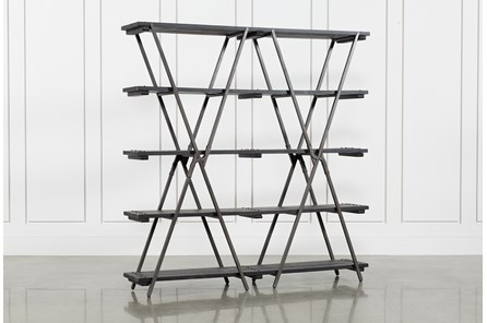 Pine Wood Metal Distressed Bookcase - Main